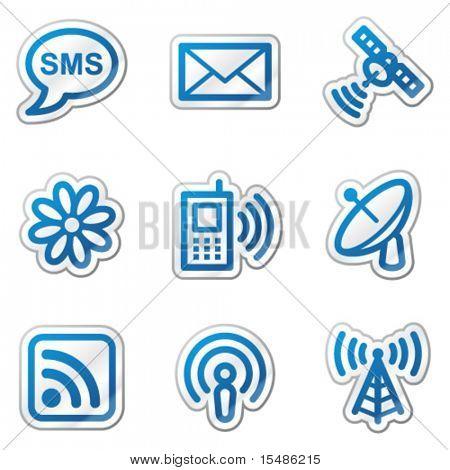 Communication web icons, blue contour sticker series