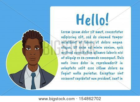 Banner with business people. Vector illustration character with bubble talk. Vector quote for colorful web banners, web sites, printed materials, infographics, startup, marketing. Guy says - hello