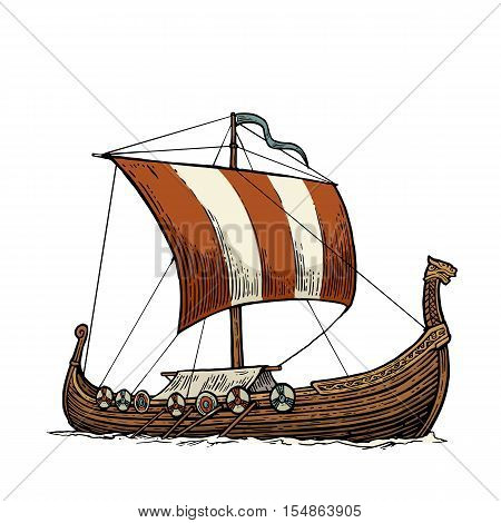 Drakkar floating on the sea waves. Hand drawn design element sailing ship. Vintage color vector engraving illustration for poster label postmark. Isolated on white background