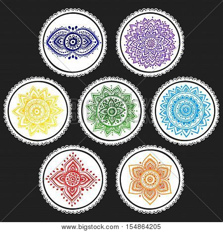 Bohemian Indian chakra Mandalas. Vintage Henna tattoo style Indian medallion. Ethnic ornament could be used as shirt print, greeting card, phone case print, textile