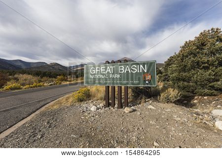 Great Basin National Park, Nevada, USA - October 14, 2016:  Great Basin National Park highway entrance sign in Eastern Nevada.