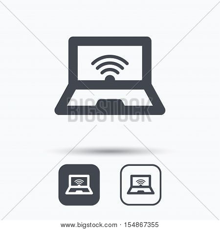 Computer with wifi icon. Notebook or laptop pc symbol. Square buttons with flat web icon on white background. Vector