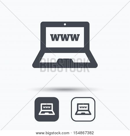 Computer icon. Notebook or laptop pc symbol. Square buttons with flat web icon on white background. Vector