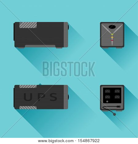 Vector set of uninterrupted power supply icons from different sides on the turquoise background with shadow.