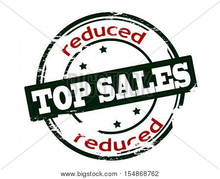 Rubber stamp with text top sales reduced inside vector illustration
