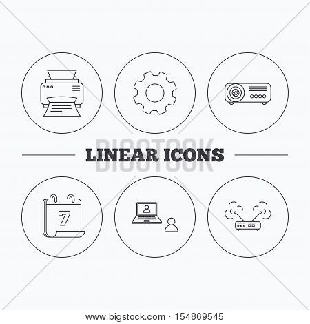 Projector, printer and wi-fi router icons. Video chat linear sign. Flat cogwheel and calendar symbols. Linear icons in circle buttons. Vector