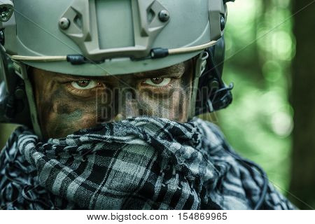 United states army ranger in the forest