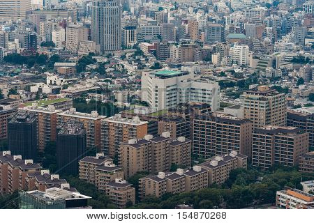 Tokyo Japan - September 26 2016: Aerial view since shot off Observatory tower. The newly built Red Cross Medical Center surrounded by highrises apartment complexes.
