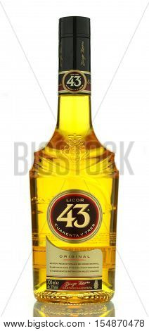 CIRCA SEPTEMBER 2016 - GDANSK: Licor 43 isolated on white background. It is a Spanish liqueur made from citrus and fruit juices, flavored with vanilla and other aromatic herbs and spices for a total 43 different ingredients.