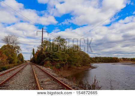 railroad close up to horizon under dramatic sky sky clouds railroad