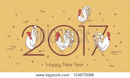 Set roosters on a beige background with geometric shapes. Hipster style thin line. Modern card for the new year 2017.