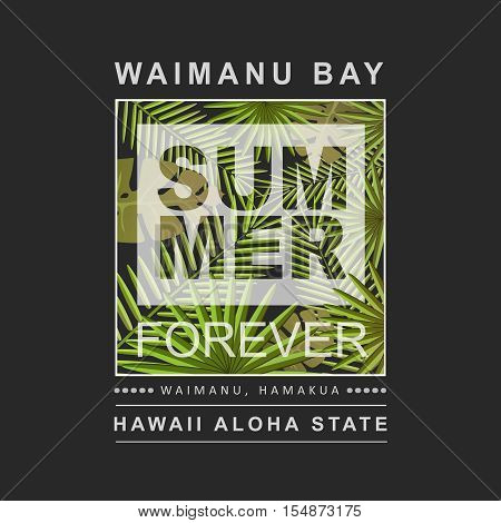 Hawaii aloha summer print with palms tree illustration for t-shirt, vector