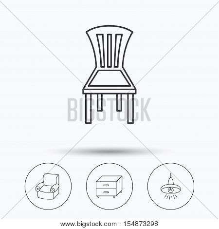 Ceiling lamp, nightstand and armchair icons. Chair linear sign. Linear icons in circle buttons. Flat web symbols. Vector