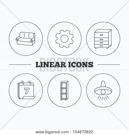 Sofa, ceiling lamp and shelving icons. Chest of drawers linear sign. Flat cogwheel and calendar symbols. Linear icons in circle buttons. Vector