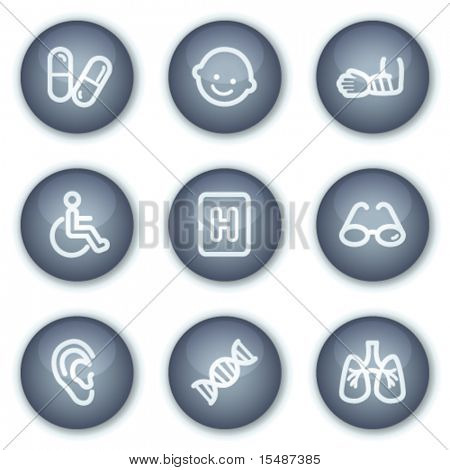 Medicine web icons set 2, mineral circle buttons series