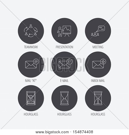 Teamwork, presentation and meeting chat bubbles icons. E-mail inbox, hourglass linear signs. Linear icons in circle buttons. Flat web symbols. Vector
