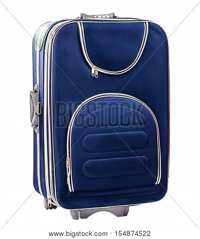 Single Blue suitcase isolated on white background