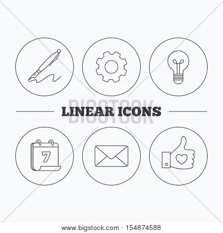 Mail, heart and lightbulb icons. Pen linear sign. Flat cogwheel and calendar symbols. Linear icons in circle buttons. Vector