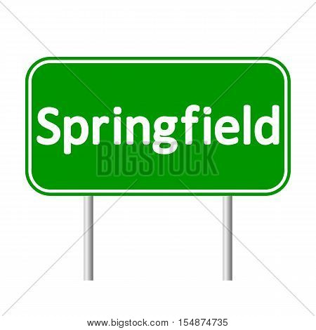Springfield green road sign isolated on white background