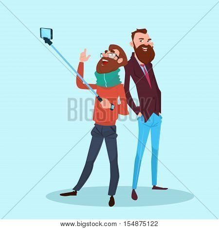 Two Man Taking Selfie Photo On Smart Phone With Stick Flat Vector Illustration