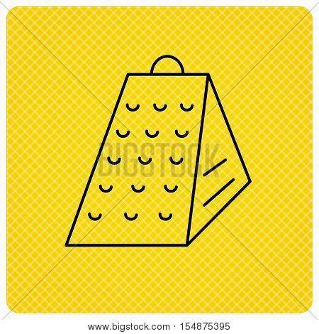 Grater icon. Kitchen tool sign. Kitchenware slicer symbol. Linear icon on orange background. Vector