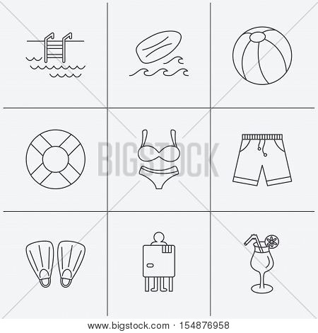Surfboard, swimming pool and trunks icons. Beach ball, lingerie and shorts linear signs. Lifebuoy, cocktail and changing cabin icons. Linear icons on white background. Vector