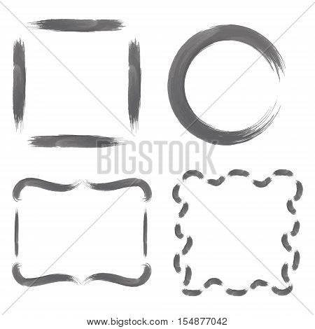 Set with Greyscale Watercolour Brushstroke Frames, such as Circle, Simple Square and  Decorative Square Shapes. Vector EPS 10