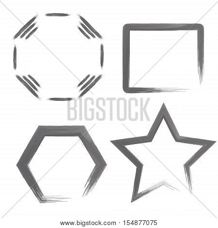 Set with Watercolor Geometric Shapes or Frames. Watercolour Templates. Vector EPS 10