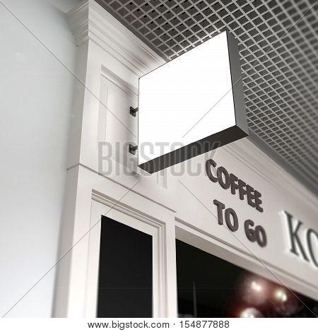 Squard signboard mock-up on blurred beige cafe fasad background.3d model illustration render.