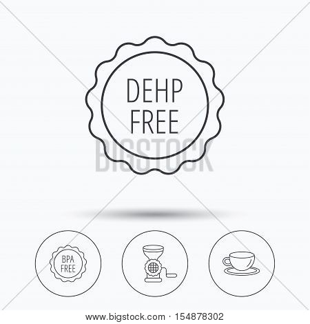 Coffee cup, meat grinder and BPA free icons. DEHP free linear sign. Linear icons in circle buttons. Flat web symbols. Vector