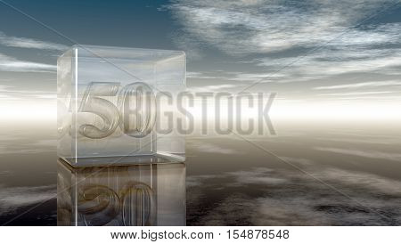 number fifty in glass cube under cloudy sky - 3d rendering