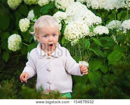 Cute adorable surprised crying screaming baby boy girl child standing among flowers lifestyle happy childhood concept