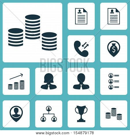 Set Of Hr Icons On Tree Structure, Coins Growth And Money Topics. Editable Vector Illustration. Incl