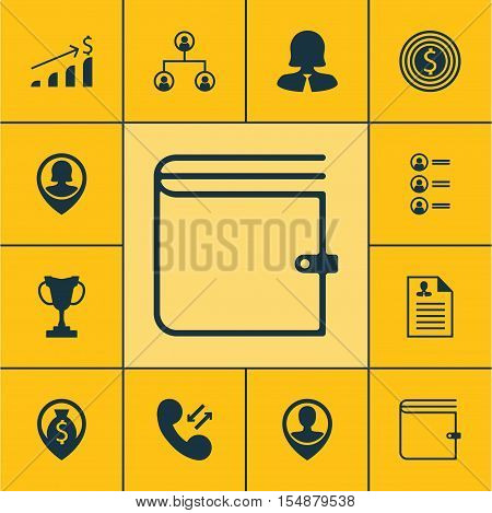 Set Of Management Icons On Pin Employee, Money Navigation And Cellular Data Topics. Editable Vector