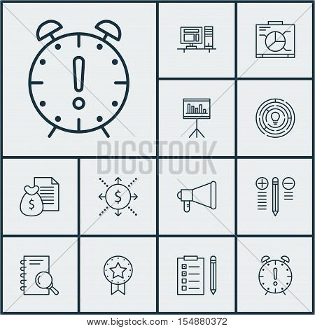 Set Of Project Management Icons On Present Badge, Computer And Board Topics. Editable Vector Illustr