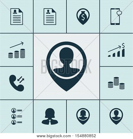 Set Of Hr Icons On Curriculum Vitae, Coins Growth And Cellular Data Topics. Editable Vector Illustra