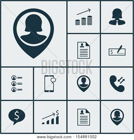 Set Of Hr Icons On Pin Employee, Curriculum Vitae And Messaging Topics. Editable Vector Illustration