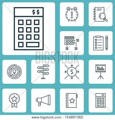 Set Of Project Management Icons On Money, Reminder And Opportunity Topics. Editable Vector Illustrat