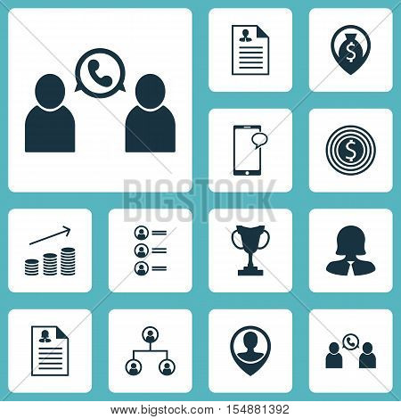 Set Of Human Resources Icons On Business Woman, Messaging And Employee Location Topics. Editable Vec