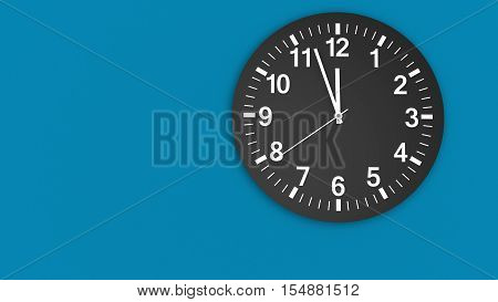 Clock face on a blue wall with clean design showing almost midday hour 3D illustration.