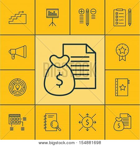 Set Of Project Management Icons On Report, Growth And Money Topics. Editable Vector Illustration. In
