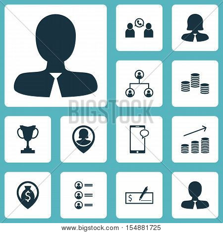 Set Of Hr Icons On Phone Conference, Tournament And Messaging Topics. Editable Vector Illustration.