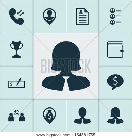 Set Of Human Resources Icons On Employee Location, Cellular Data And Job Applicants Topics. Editable