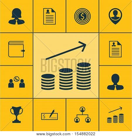 Set Of Management Icons On Business Woman, Wallet And Bank Payment Topics. Editable Vector Illustrat