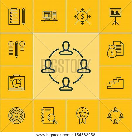 Set Of Project Management Icons On Board, Decision Making And Computer Topics. Editable Vector Illus