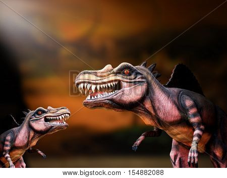 dinosaur family with dark background, spinosaurus , dangerous animal
