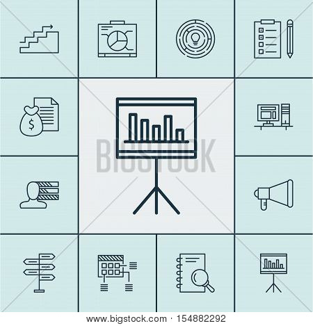 Set Of Project Management Icons On Report, Announcement And Reminder Topics. Editable Vector Illustr