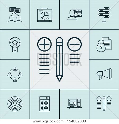 Set Of Project Management Icons On Discussion, Present Badge And Investment Topics. Editable Vector