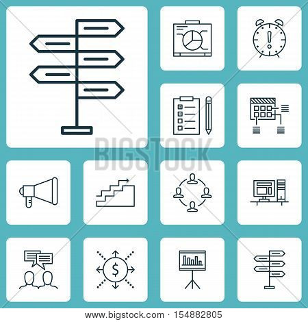 Set Of Project Management Icons On Opportunity, Presentation And Money Topics. Editable Vector Illus