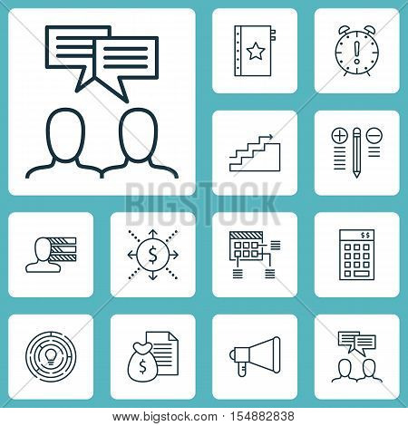 Set Of Project Management Icons On Personal Skills, Discussion And Report Topics. Editable Vector Il